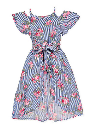 Girls 7-16 Floral Striped Maxi Romper,NAVY,large