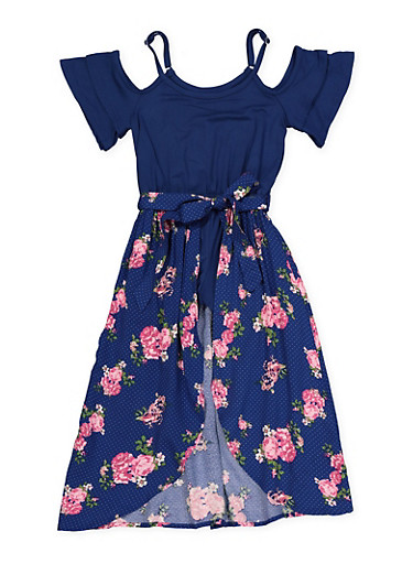 Girls 7-16 Printed Floral Maxi Romper,NAVY,large