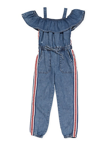 Girls 7-16 Striped Tape Denim Jumpsuit,LIGHT WASH,large