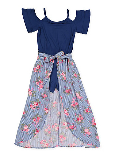 Girls 7-16 Floral Maxi Romper,NAVY,large