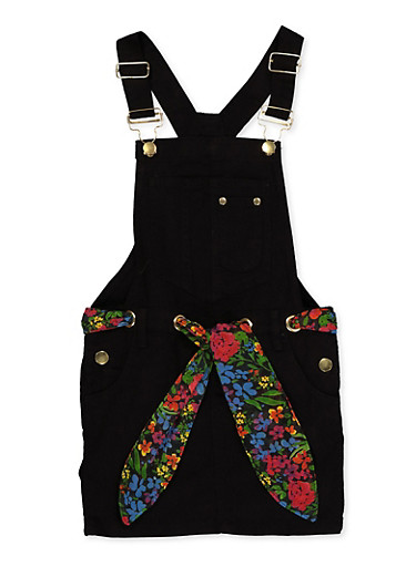 Girls 7-16 Twill Overall Dress,BLACK,large