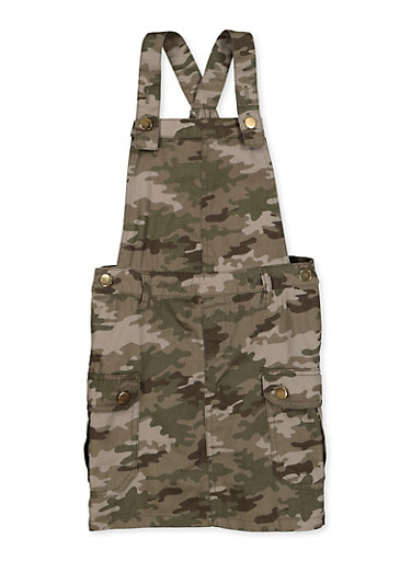 Girls 7-16 Twill Cargo Overall Dress,TAN,large
