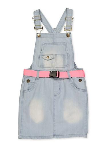 Girls 7-16 Belted Denim Overall Dress,LIGHT WASH,large