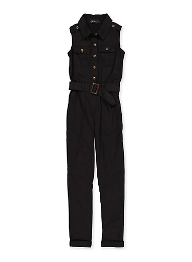 Girls 7-16 Belted Twill Jumpsuit,BLACK,large
