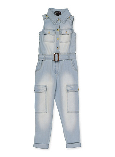 Girls 7-16 Collared Denim Jumpsuit,DENIM,large