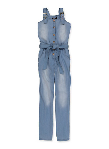 Girls 7-16 Denim Tie Waist Jumpsuit,DENIM,large