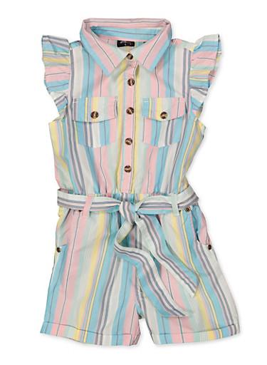 Girls 7-16 Striped Cap Sleeve Belted Romper,TEAL,large