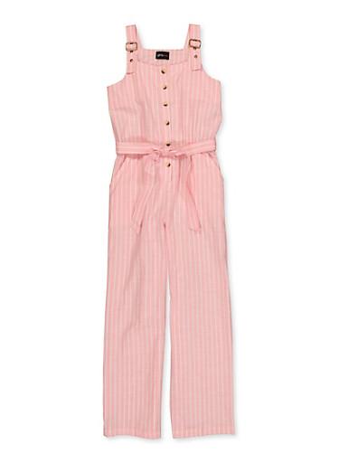 Girls 4-16 Striped Linen Tie Waist Jumpsuit,BLUSH,large