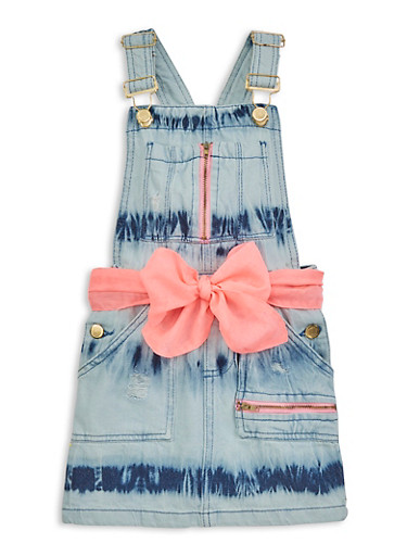 Girls Tie Waist Belt Denim Overall Dress,LIGHT WASH,large