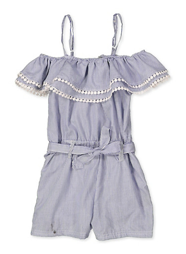 Girls 5-16 Striped Crochet Trim Romper,WHITE/BLUE,large