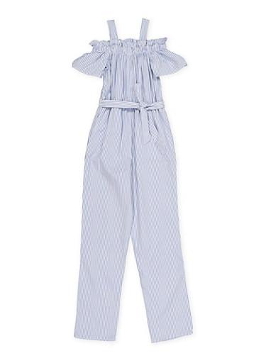 Girls 7-16 Striped Off the Shoulder Jumpsuit,BABY BLUE,large