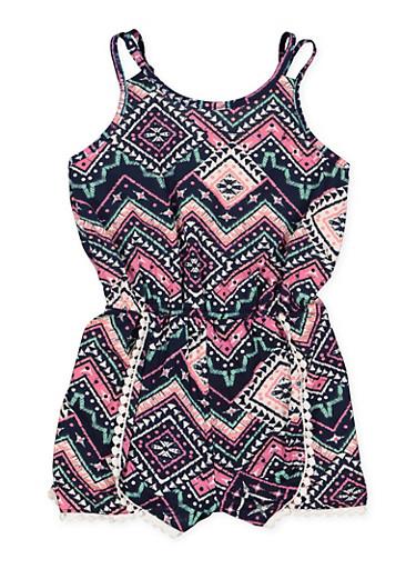 Girls 7-16 Crochet Trim Printed Romper,NAVY,large