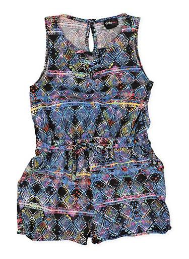 Girls 7-16 Printed Lace Up Romper,BLACK,large