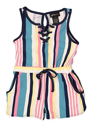 Girls 7-16 Striped Lace Up Romper,MINT,large