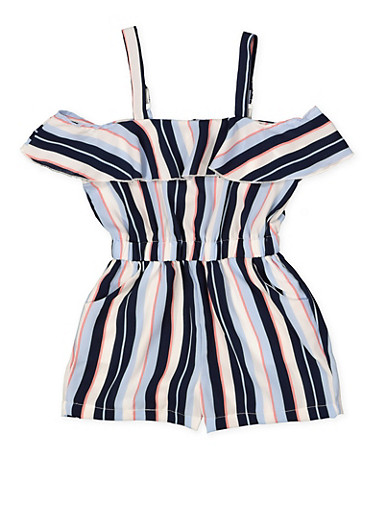 Girls 7-16 Striped Ruffle Romper,NAVY,large