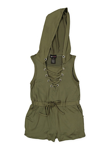 Girls 7-16 Lace Up Hooded Romper,OLIVE,large