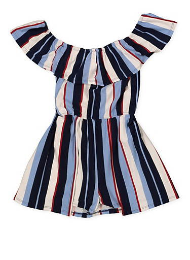 Girls 7-16 Striped Off the Shoulder Romper,WINE,large