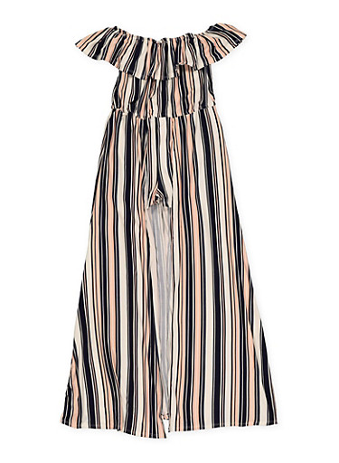 Girls 7-16 Striped Off the Shoulder Maxi Romper,NAVY,large