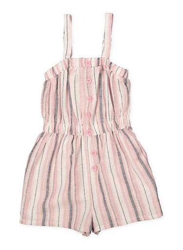 Girls 7-16 Striped Linen Romper,MAUVE,large