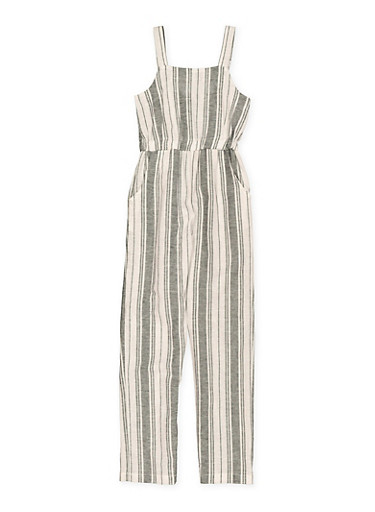 Girls 7-16 Striped Linen Jumpsuit,BLACK/WHITE,large