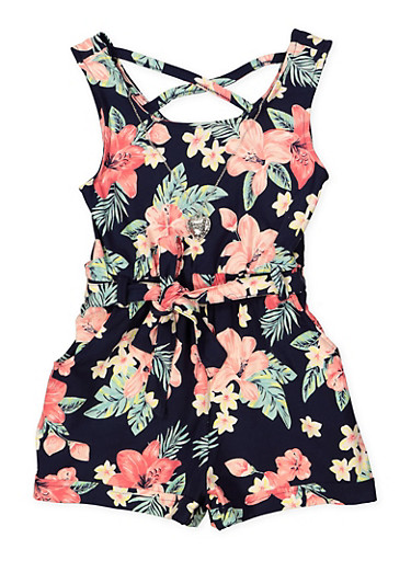 Girls 7-16 Soft Knit Floral Romper with Necklace,NAVY,large