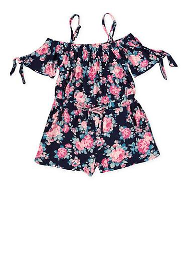 Girls 7-16 Floral Off the Shoulder Soft Knit Romper,NAVY,large