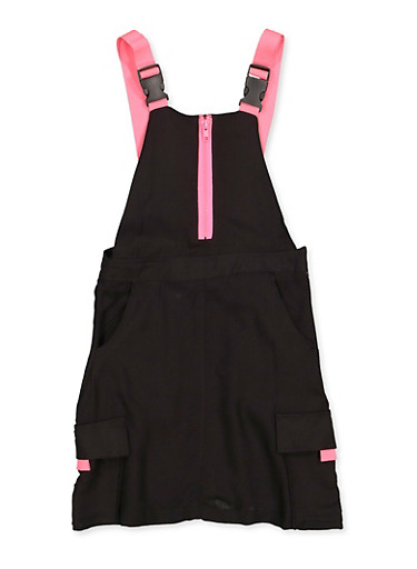 Girls 7-16 Buckle Strap Cargo Overall Dress,BLACK,large