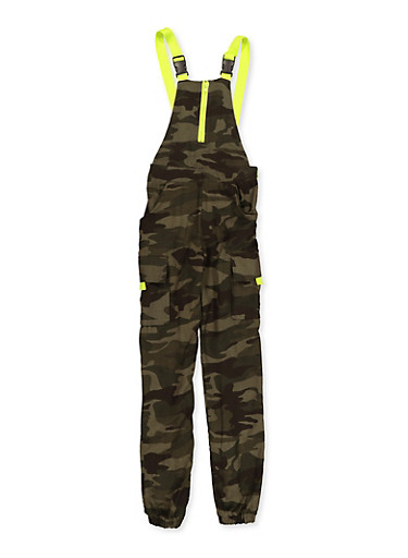 Girls 7-16 Contrast Buckle Strap Cargo Overalls,OLIVE,large