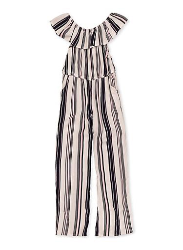 Girls 7-16 Ruffle Striped Jumpsuit,NAVY,large