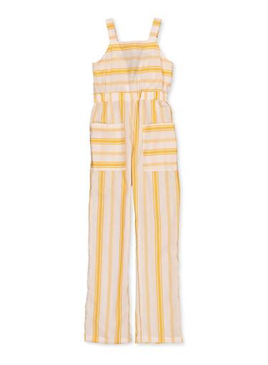Girls 7-16 Striped Square Neck Jumpsuit,MUSTARD,large