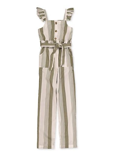 Girls 7-16 Ruffle Trim Striped Jumpsuit,OLIVE,large