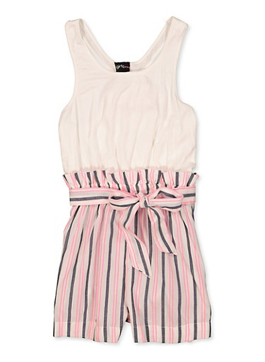 Girls 7-16 Bow Tie Back Striped Romper,IVORY,large