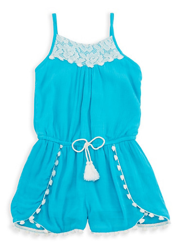 Girls 7-16 Crochet Trim Gauze Knit Romper,TURQUOISE,large