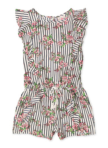 Girls 7-16 Striped Floral Ruffle Romper,IVORY,large