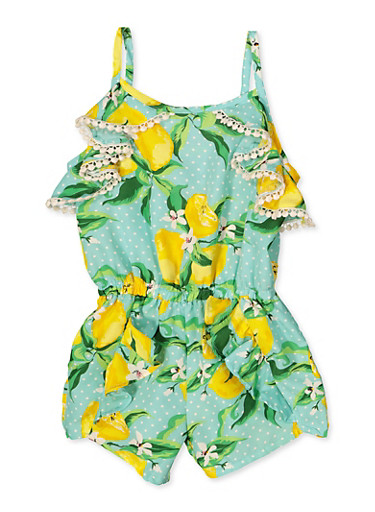 Girls 7-16 Lemon Print Romper,MINT,large