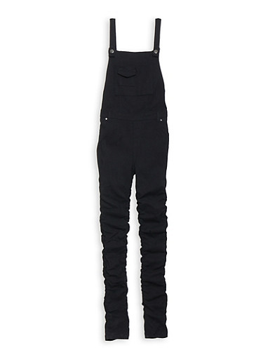 Girls 7-16 Ruched Hyperstretch Overalls,BLACK,large