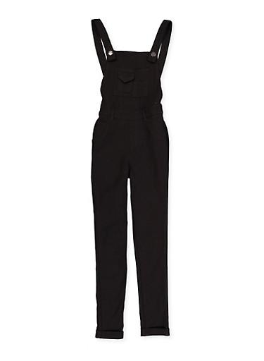 Girls 7-16 Black Hyperstretch Overalls,BLACK,large