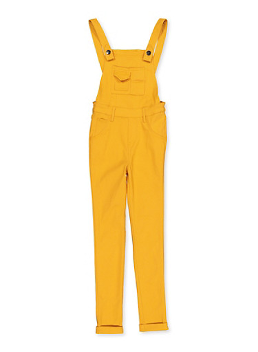 Girls 7-16 Hyperstretch Overalls,MUSTARD,large