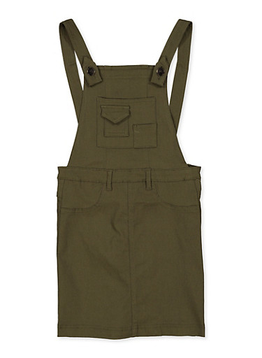 Girls 7-16 Olive Stretch Overall Dress,OLIVE,large