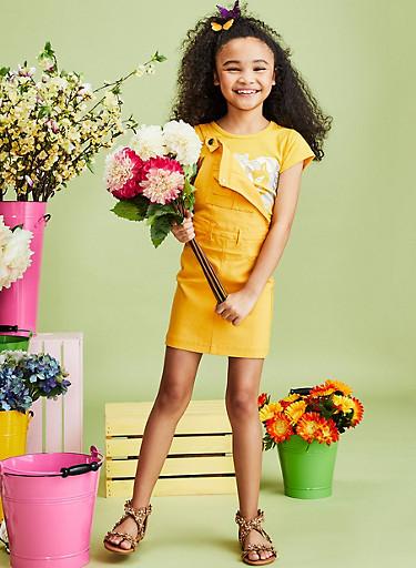 Girls 7-16 Mustard Hyperstretch Overall Dress,MUSTARD,large