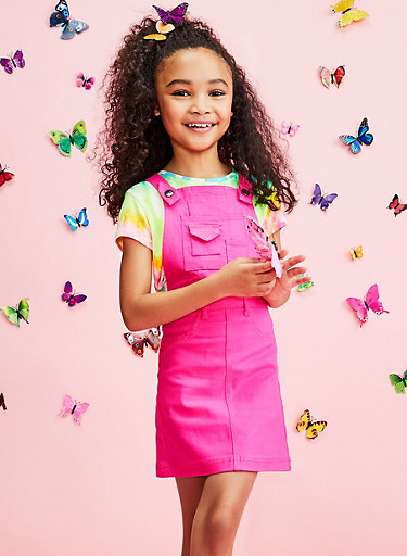 Girls 7-16 Neon Pink Stretch Overall Dress,NEON PINK,large