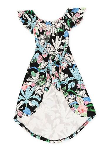 Girls 7-16 Soft Knit Overlay Romper,BLACK,large