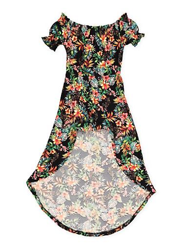 Girls 7-16 Tropical Print Overlay Romper,BLACK,large