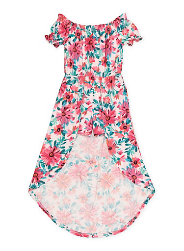Girls 7-16 Floral Striped Off the Shoulder Maxi Romper,FUCHSIA,large