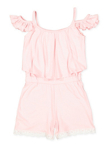 Girls 7-16 Off the Shoulder Overlay Romper,ROSE,large