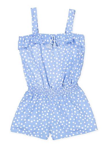 Girls 7-16 Smocked Waist Polka Dot Romper,BLUE,large