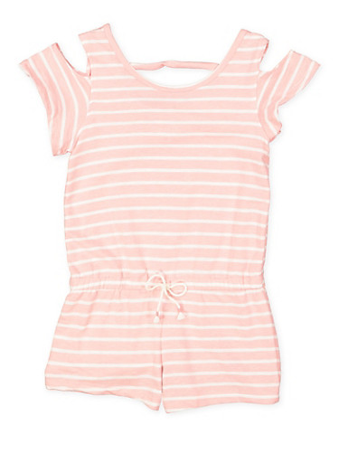 Girls 7-16 Striped Cold Shoulder Romper,PINK,large
