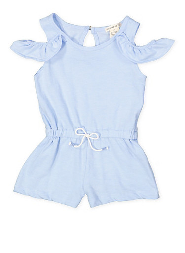 Girls 7-16 Cold Shoulder Romper,BLUE,large