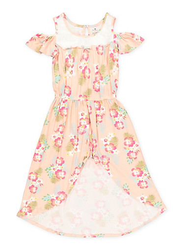 Girls 7-16 Floral Cold Shoulder Overlay Romper | 1619061950030,BLUSH,large