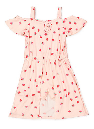 Girls 7-16 Strawberry Print Overlay Romper,BLUSH,large